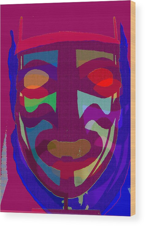 Mask Wood Print featuring the painting Mask8 by Noredin Morgan