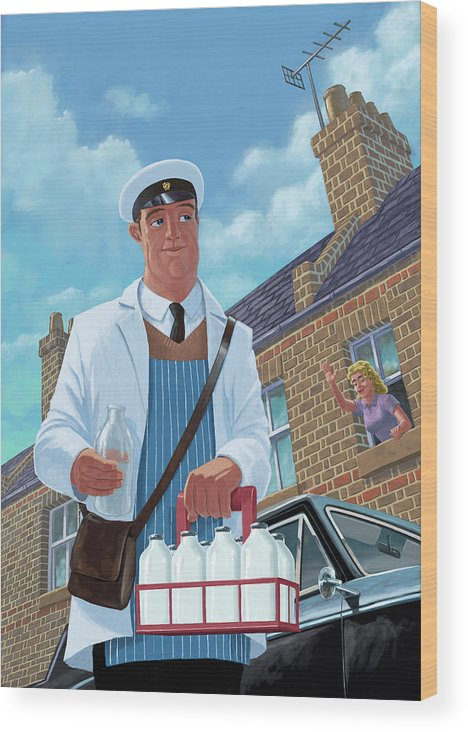 Milkman Wood Print featuring the painting Milkman On Daily Milk Delivery In Urban Old Street by Martin Davey