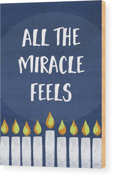 Hanukkah Wood Print featuring the mixed media Miracle Feels- Hanukkah Art By Linda Woods by Linda Woods