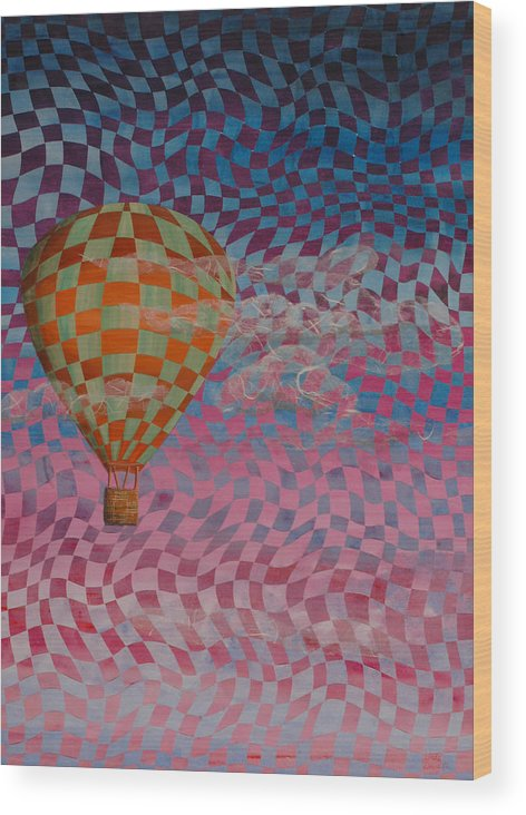 Hot Air Balloon Wood Print featuring the painting Morning Ride by Linda L Doucette