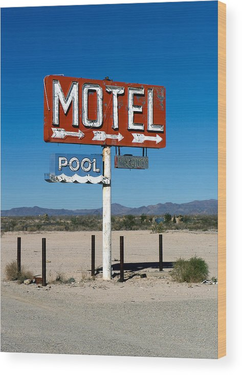 Route 66 Wood Print featuring the photograph Motel Sign On I-40 And Old Route 66 by Scott Sawyer