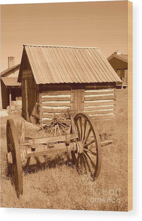 Sepia Wood Print featuring the photograph Murdock Carriage House - Circa 1800's by Dennis Hammer