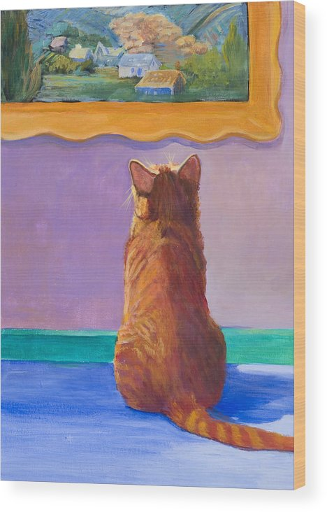 Animal Wood Print featuring the painting Museum Cat 2 by Jimmie Trotter