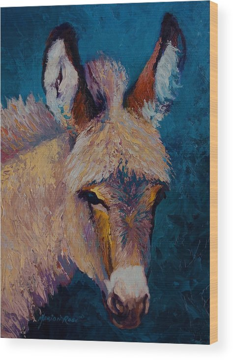 Burro Wood Print featuring the painting Mystic by Marion Rose