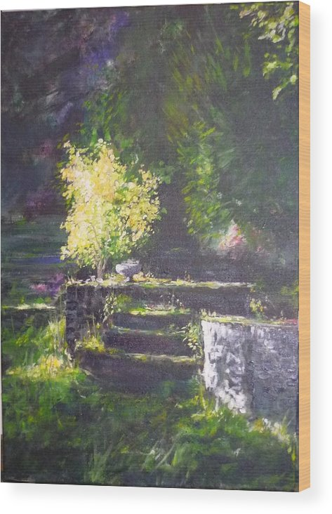 Garden Wood Print featuring the painting Naturallly....or A Quiet Corner by Lizzy Forrester