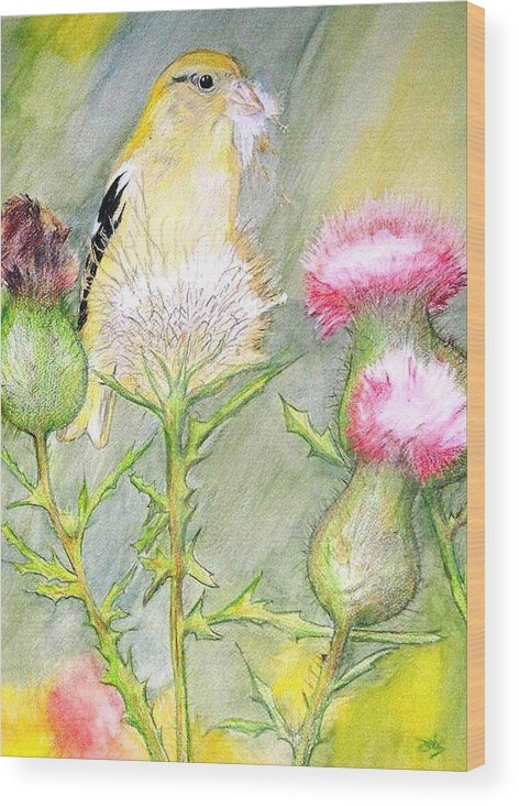 Goldfinch Wood Print featuring the painting Nest Fluff by Debra Sandstrom