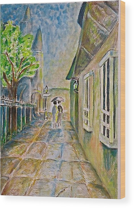 Street Scene Wood Print featuring the painting New Orleans French Quarter by Joan Landry