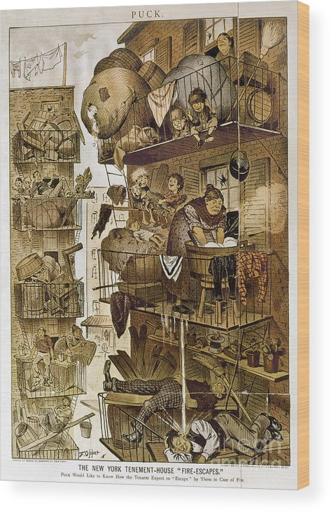 1890 Wood Print featuring the photograph New York: Fire Escapes by Granger
