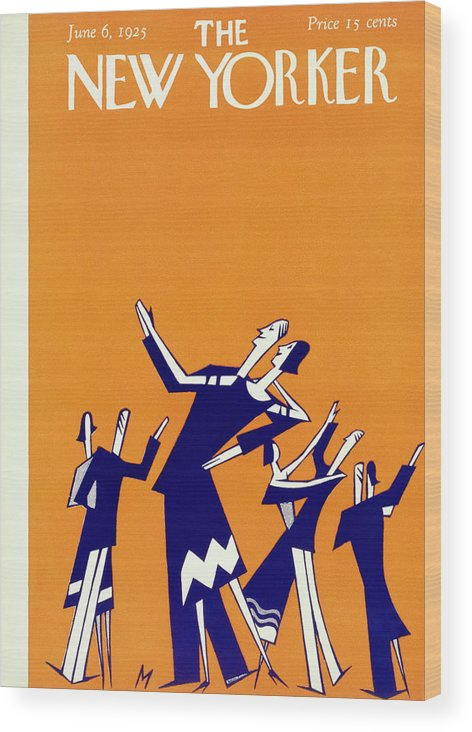Illustration Wood Print featuring the painting New Yorker Magazine Cover Of Couples Dancing by Julian De Miskey