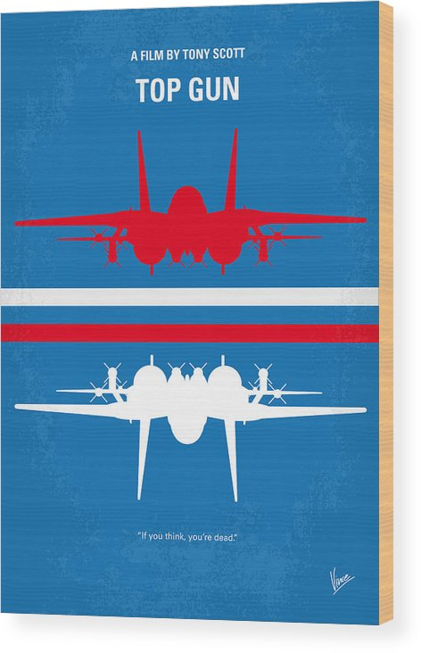 Top Wood Print featuring the digital art No128 My Top Gun Minimal Movie Poster by Chungkong Art