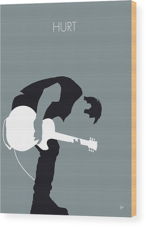 Nine Wood Print featuring the digital art No197 My Nine Inch Nails Minimal Music Poster by Chungkong Art