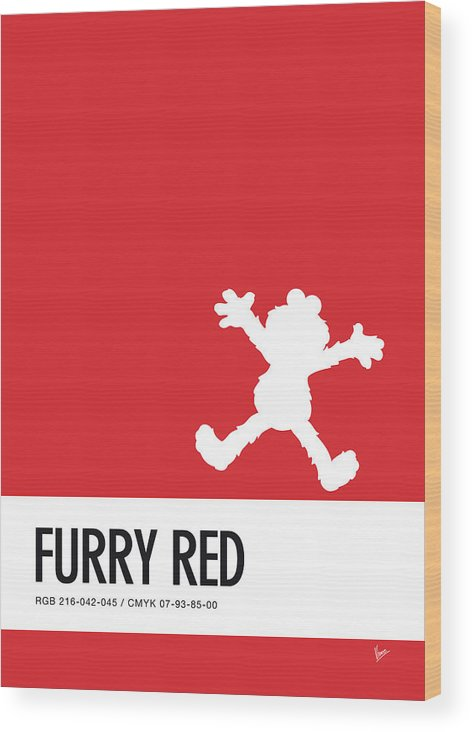 Wood Print featuring the digital art No30 My Minimal Color Code Poster Elmo by Chungkong Art