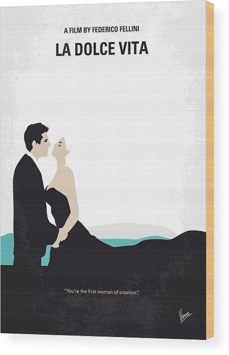 La Wood Print featuring the digital art No529 My La Dolce Vita Minimal Movie Poster by Chungkong Art