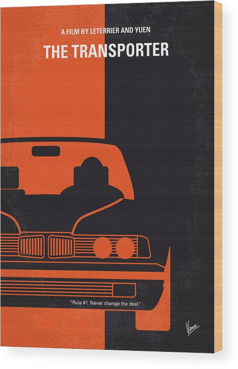 Transporter Wood Print featuring the digital art No552 My The Transporter Minimal Movie Poster by Chungkong Art