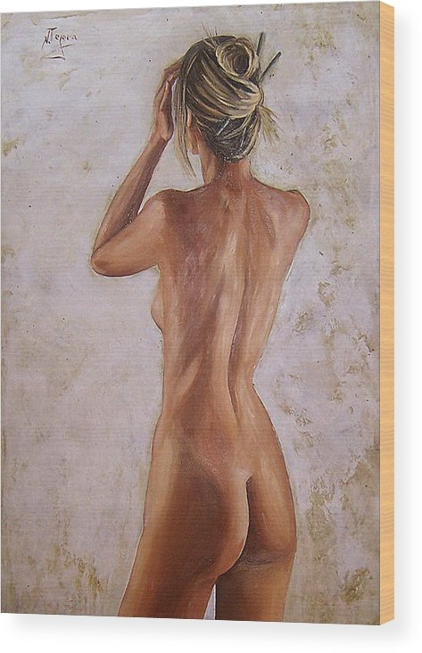 Nude Wood Print featuring the painting Nude by Natalia Tejera