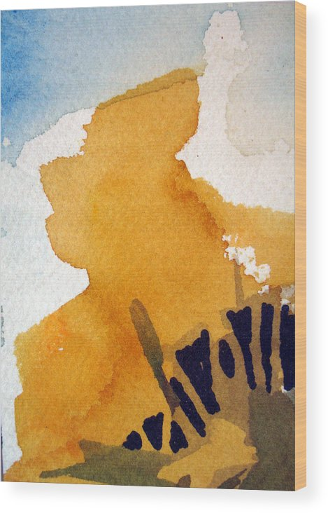Aceo. Landscape Wood Print featuring the painting October Gold by Bill Meeker