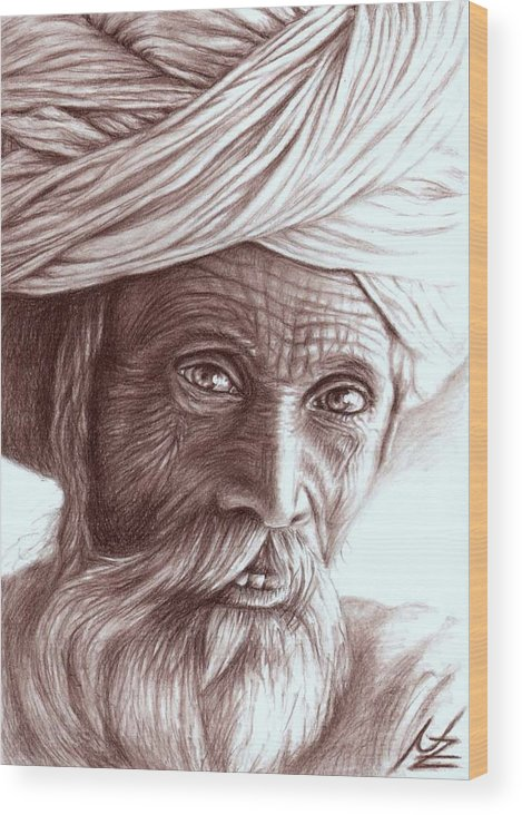 Man Wood Print featuring the drawing Old Indian Man by Nicole Zeug