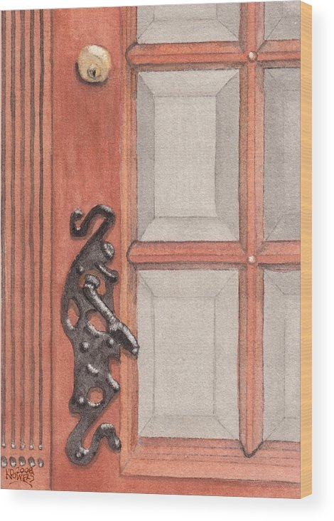 Handle Wood Print featuring the painting Ornate Door Handle by Ken Powers