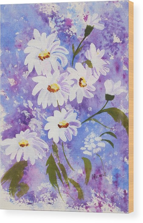 Flowers Wood Print featuring the mixed media Out Of The Blue by Michele Turney