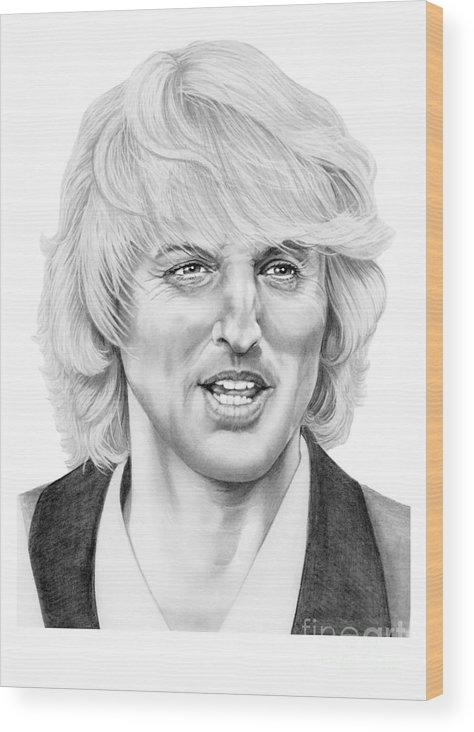 Drawing Wood Print featuring the drawing Owen Wilson by Murphy Elliott