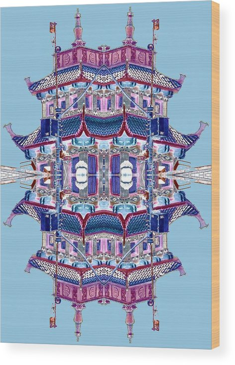 China Town Wood Print featuring the photograph Pagoda Tower Becomes Chinese Lantern 2 Chinatown Chicago by Marianne Dow