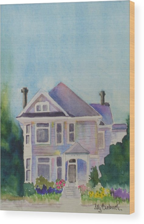 Victorian Wood Print featuring the painting Park Blvd Victorian by Ally Benbrook