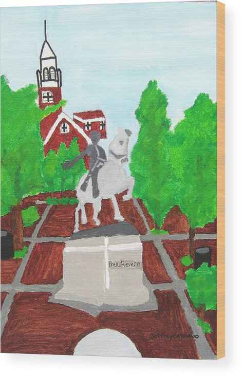 Paul Revere Wood Print featuring the painting Paul Revere by Jeff Caturano