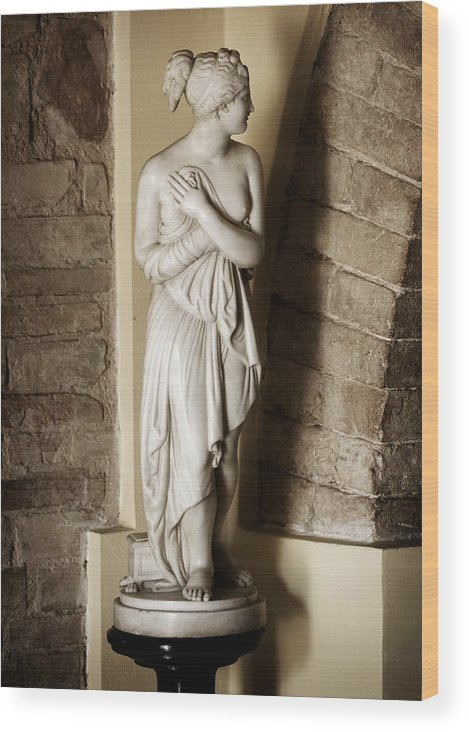 Statue Wood Print featuring the photograph Peering Woman by Marilyn Hunt