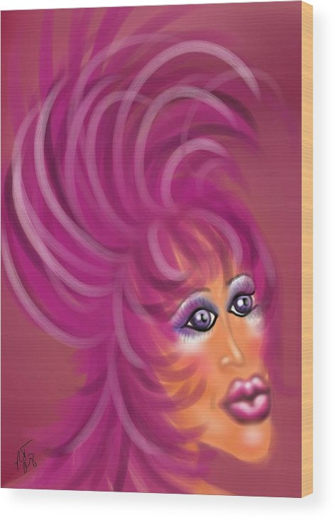 Drag Queen Wood Print featuring the painting Pink Flamingo by Ronald Terrel