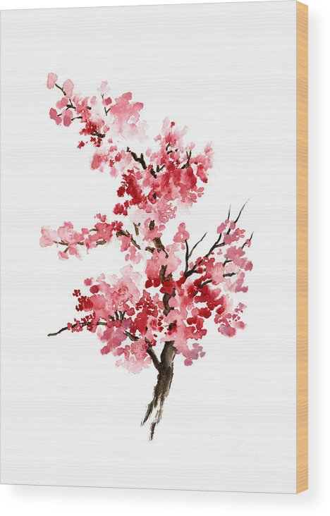 Painting Wood Print featuring the painting Cherry Blossom, Pink Gifts For Her, Sakura Giclee Fine Art Print, Flower Watercolor Painting by Joanna Szmerdt