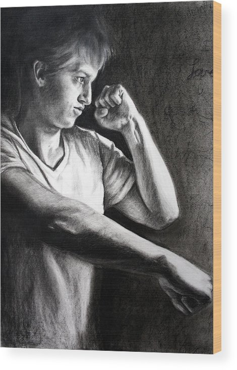 Portrait Wood Print featuring the drawing Portrait by Maryn Crawford