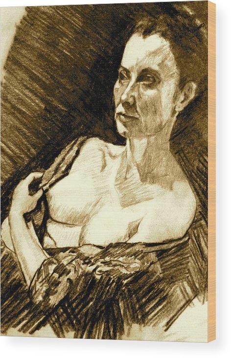 Portrait Wood Print featuring the painting Portrait Of Jacqueline by Dan Earle