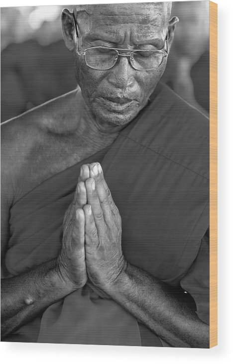 Buddhism Wood Print featuring the photograph Praying Monk by Stefan Breton