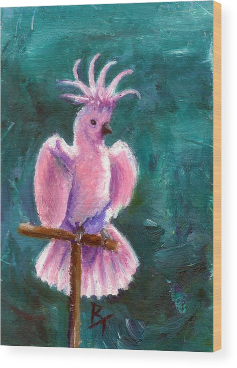 Bird Wood Print featuring the painting Pretty In Pink Aceo by Brenda Thour