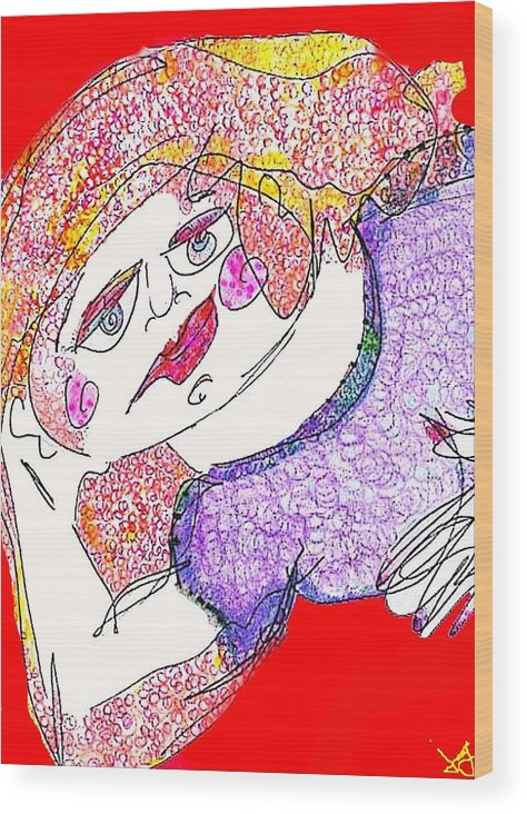 Woman Wood Print featuring the digital art Red by Joyce Goldin