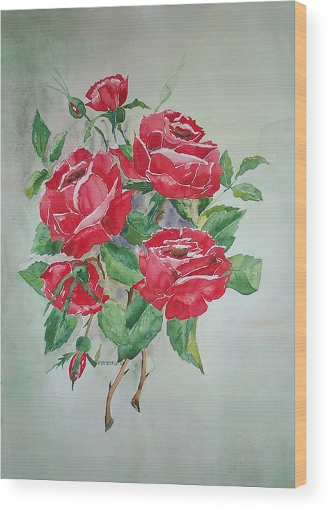 Roses Flowers Wood Print featuring the painting Red Morning Roses by Irenemaria
