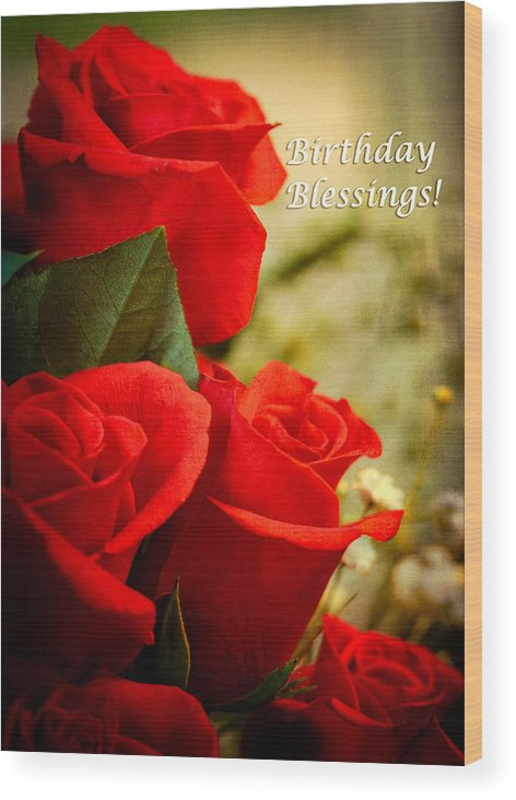 Flowers Wood Print Featuring The Photograph Red Rose Birthday Greeting Card By Joni Eskridge