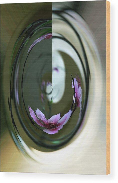 Inna Nedzelskaia Wood Print featuring the digital art Reflection In A Drop by Inna Nedzelskaia