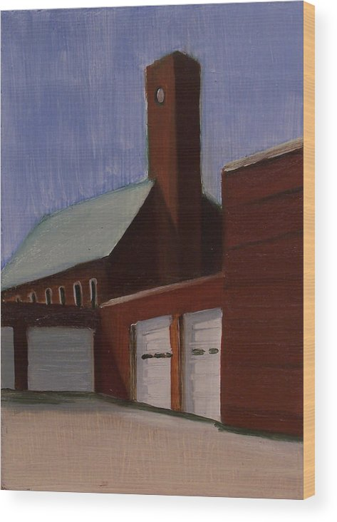 Suburbanscape Wood Print featuring the painting Ridgefield Park Dpw by Ron Erickson