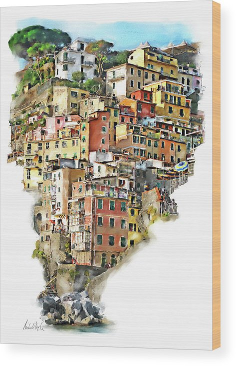 Italy Paintings Wood Print featuring the painting Riomaggiore by Michael Doyle