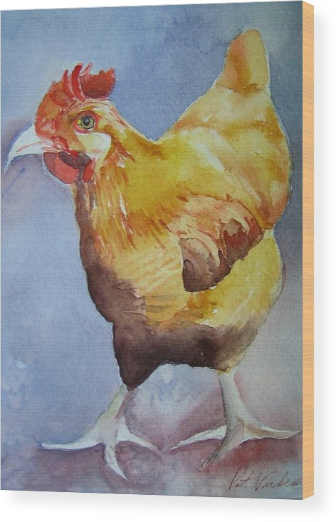 Rooster Wood Print featuring the painting Rooster by Pat Vickers