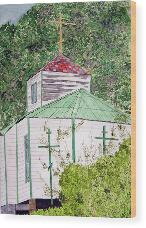 Church Wood Print featuring the painting Russian Orthodox In Hoonah by Larry Wright