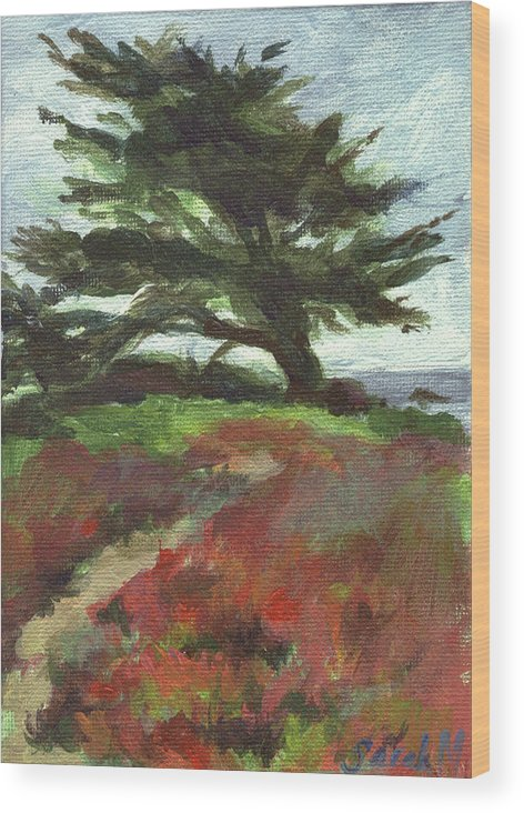 Landscape Wood Print featuring the painting Sea Sculpture by Sarah Madsen