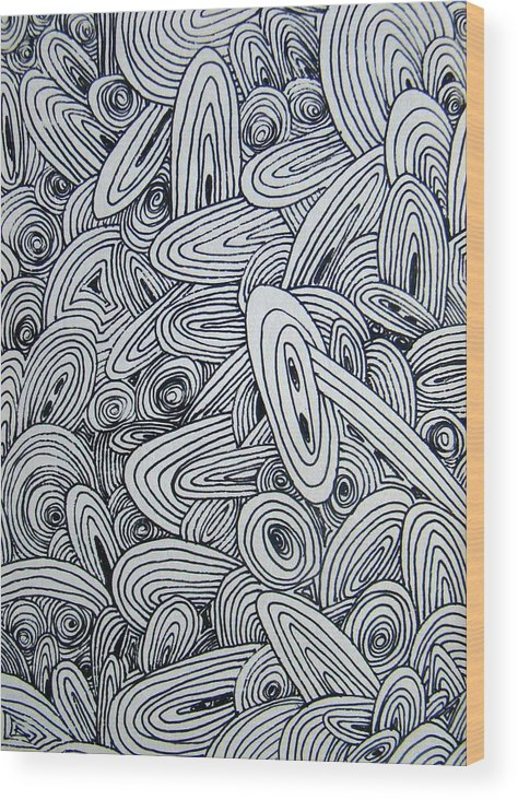 Abstract Wood Print featuring the drawing See Study Six by Ana Villaronga