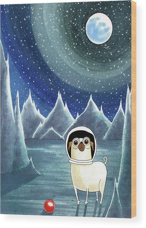 Dog Wood Print featuring the painting Space Pug by Andrew Hitchen