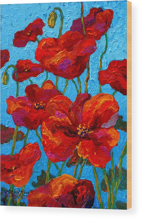 Poppies Wood Print featuring the painting Spring Poppies by Marion Rose