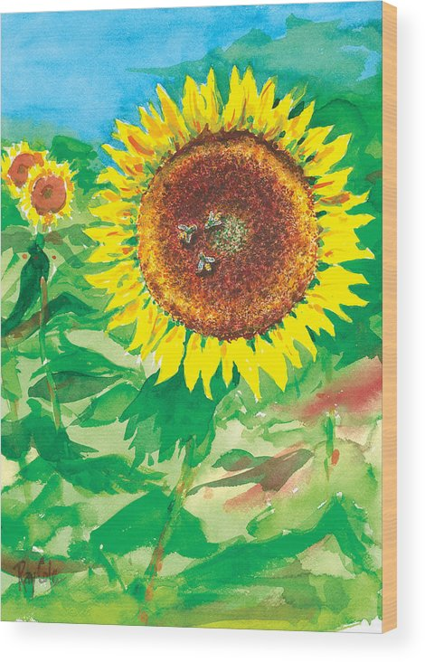 Sunflowers Wood Print featuring the painting Sunflowers by Ray Cole