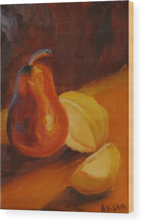 Still Life Wood Print featuring the painting Sunset Pears by Stephanie Allison
