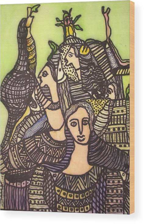 Abstract Art Wood Print featuring the painting Tapestry Of Life by Nabakishore Chanda