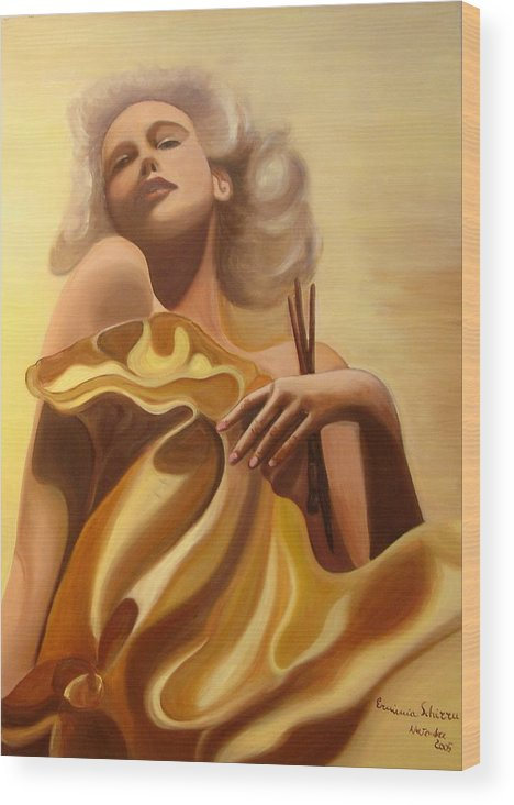 Figurative Wood Print featuring the painting The Beauty And The Elegance by Erminia Schirru